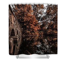 Shower Curtain featuring the photograph Bridge To Autumn by Tom Gort