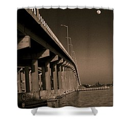 Bridge To The Moon Shower Curtain by Roger Wedegis