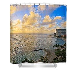 Bright Waikiki Sunset Shower Curtain by Tomas del Amo