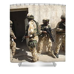 British Troops Training In Iraq Shower Curtain by Andrew Chittock