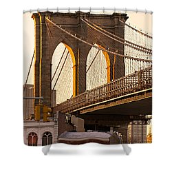 Shower Curtain featuring the photograph Brooklyn Bridge - New York by Luciano Mortula