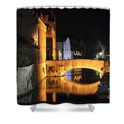 Shower Curtain featuring the photograph Bruge Night by Milena Boeva