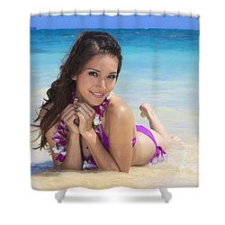 Brunette On Beach Shower Curtain by Tomas del Amo