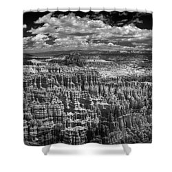 Bryce Canyon - Black And White Shower Curtain by Larry Carr