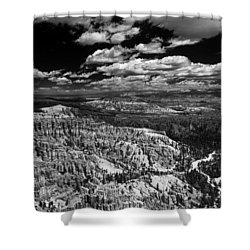 Bryce Canyon Ampitheater - Black And White Shower Curtain