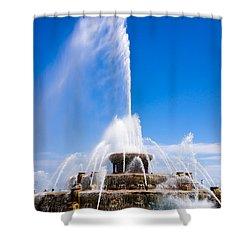Buckingham Fountain In Chicago Shower Curtain by Paul Velgos