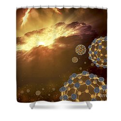 Buckyballs Floating In Interstellar Shower Curtain by Stocktrek Images