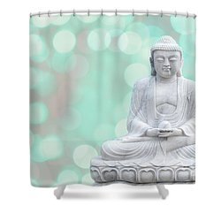 Buddha  Enlightment  Green Shower Curtain by Hannes Cmarits