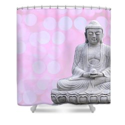Buddha Enlightment Red-yellow Shower Curtain by Hannes Cmarits