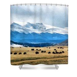 Buffalo Herd Painterly Shower Curtain by Ernie Echols