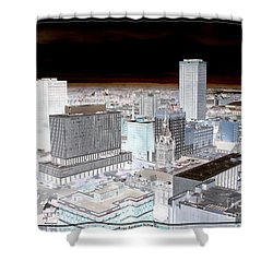Buffalo New York Aerial View Inverted Effect Shower Curtain by Rose Santuci-Sofranko