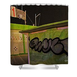 Shower Curtain featuring the photograph Building 31 Rimini Beach Graffiti by Andy Prendy