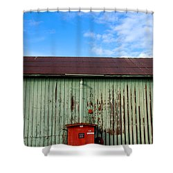 Shower Curtain featuring the photograph Building Series - Red Shack by Kathleen Grace