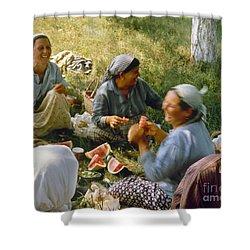 Bulgaria: Peasants Shower Curtain by Granger