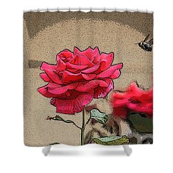 Shower Curtain featuring the photograph Bumble Bee And Rose by Donna  Smith