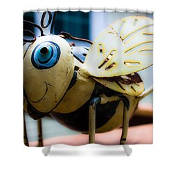 Bumble Bee Of Happiness Metal Sculpture Shower Curtain