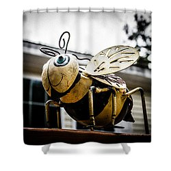 Bumble Bee Of Happiness Metal Statue Shower Curtain