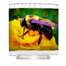 Shower Curtain featuring the photograph Bumblebee With Bokeh by Judi Bagwell