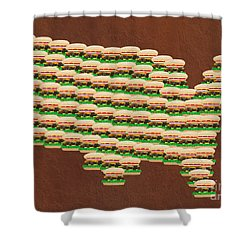 Burger Town Usa Map Brown Shower Curtain by Andee Design
