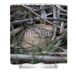 Shower Curtain featuring the photograph Buried Baseball by Stephanie Nuttall