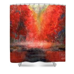 Burning Lake Shower Curtain