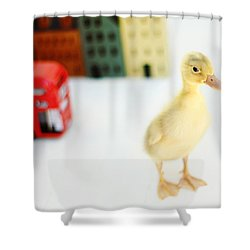 Bus Stop Shower Curtain by Amy Tyler
