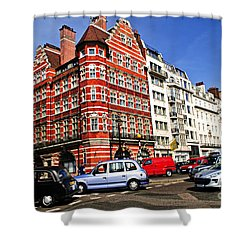 Busy Street Corner In London Shower Curtain by Elena Elisseeva