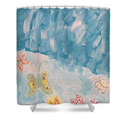 Shower Curtain featuring the painting Butterfly Flight by Sonali Gangane