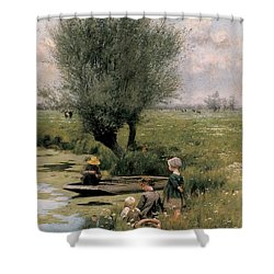 By The Riverside Shower Curtain by Emile Claus