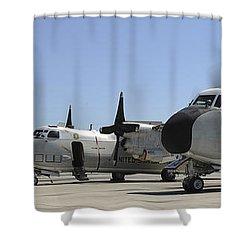C-2a Greyhound Aircraft Start Shower Curtain by Stocktrek Images