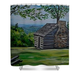 Shower Curtain featuring the painting Cabin On The Blue Ridge Parkway In Va by Julie Brugh Riffey
