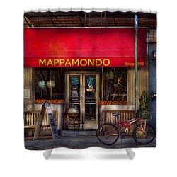 Cafe - Ny - Chelsea - Mappamondo  Shower Curtain by Mike Savad