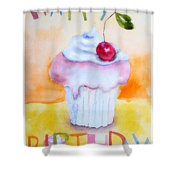 Cake With Insription Happy Birthday Shower Curtain