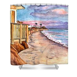 Shower Curtain featuring the painting California Coast by Clara Sue Beym