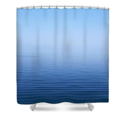 Calm Blue Water Disappearing Into Shower Curtain by Axiom Photographic