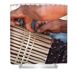 Shower Curtain featuring the photograph Cambodian Basket Weaver by Nola Lee Kelsey
