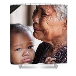 Cambodian Grandmother And Baby #1 Shower Curtain by Nola Lee Kelsey