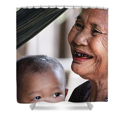 Cambodian Grandmother And Baby #2 Shower Curtain by Nola Lee Kelsey