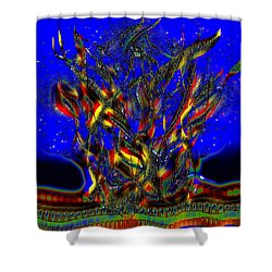 Shower Curtain featuring the digital art Camp Fire Delight by Alec Drake