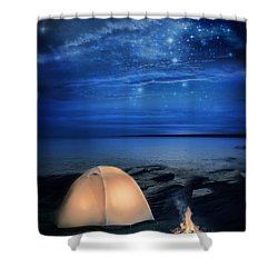 Camping Tent By The Lake At Night Shower Curtain by Jill Battaglia