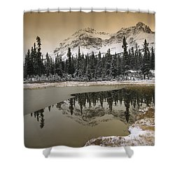 Canadian Rocky Mountains Dusted In Snow Shower Curtain by Tim Fitzharris