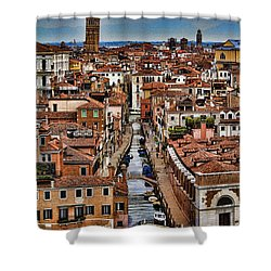 Canal And Bridges In Venice Italy Shower Curtain by David Smith