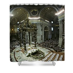 Candidates For Priesthood Lie Prostrate Shower Curtain by James L. Stanfield