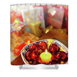 Candle And Balls Shower Curtain by Carlos Caetano