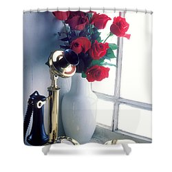 Candlestick Phone In Window Shower Curtain by Garry Gay