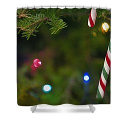 Candy Cane On Tree Shower Curtain by Carson Ganci