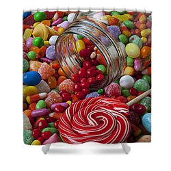 Candy Jar Spilling Candy Shower Curtain by Garry Gay