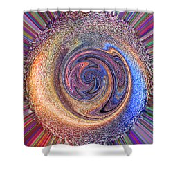 Shower Curtain featuring the painting Candy Stripe Planet by Richard James Digance