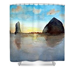 Shower Curtain featuring the painting Cannon Beach Sunset by Chriss Pagani