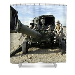 Cannoneers Train With The M777 Shower Curtain by Stocktrek Images